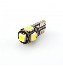 CAN Bus led izzó 12V 1.5W T10 5050 5 SMD piros