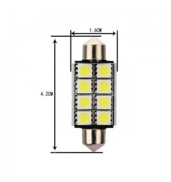 Can Bus led izzó 12V 3W Szofita 42 mm 5050 8 SMD kék