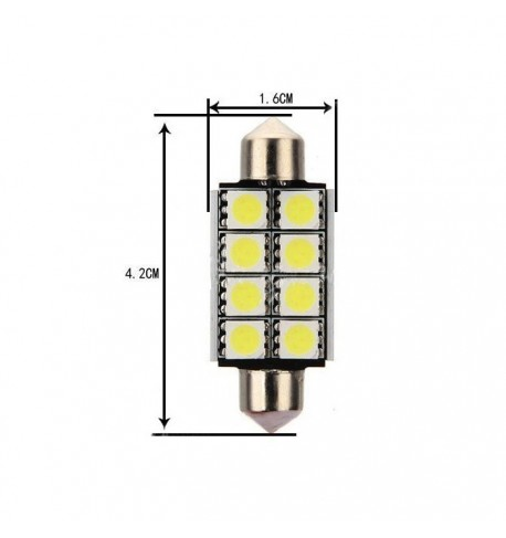 Can Bus led izzó 12V 3W Szofita 42 mm 5050 8 SMD fehér